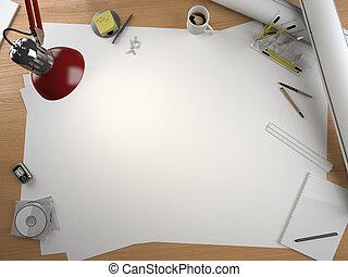 Designer zeichnet Tisch mit Elementen und Kopien