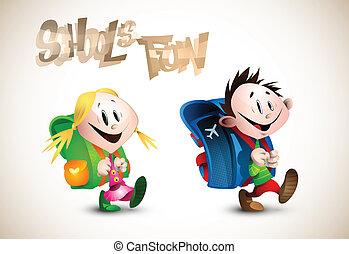 Detailgenaue Illustration von zwei glücklichen Kindern, die zur Schule gehen