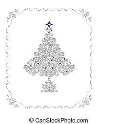 Detailgenaue Silberweihnachtsbaumfigur in einem Rahmen