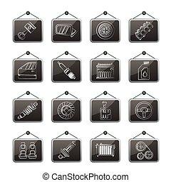 Detaillierte Autoteile Symbole.