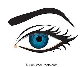 Detaillierte Wimpern und Augenbrauen.