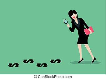 detektiv, befund, frauenunternehmen, geld
