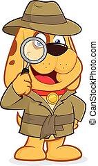 detektiv, hund