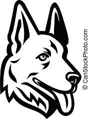 deutsch, kopf, schafhirte, hund, oder, schwarz, retro, weißes, maskottchen, elsässisch, wolf