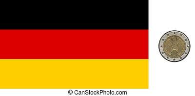 Deutsche Flagge und Münze.