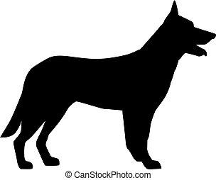 Deutsche Shepherd Silhouette schwarz.