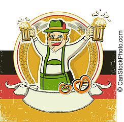 Deutscher Mann und Bier. Vintage Oktoberfest-Symbol auf altem Papier Hintergrund