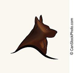 Deutscher Schäferhund, Line Art Vektor.