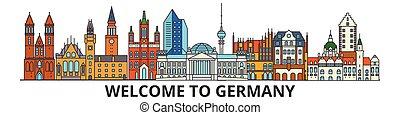 Deutschland skizziert Skyline, deutsche Flachleinwand-Symbole, Wahrzeichen, Illustrationen. Deutschland Cityscape, deutsche Reisestadt-Vektorbanner. Urban Silhouette