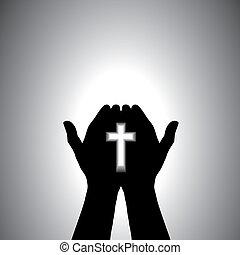 Devout Christian anbetet mit dem Kreuz in der Hand
