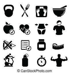 Diät, Fitness und gesundes Leben.