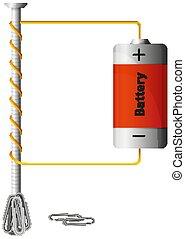 diagramm, ausstellung, arbeiten, wie, batterie, macht