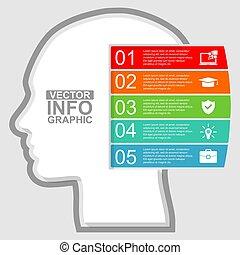 diagramm, kopf, darstellung, menschliche , illustration geschäft, infographic, schablone, vektor