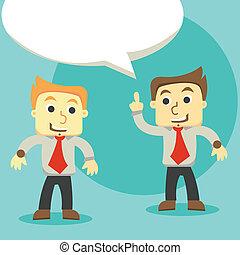 Dialog-Geschäftsmänner, zwei Geschäftsmänner diskutieren.