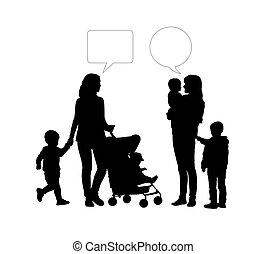 Dialog zwischen zwei Müttern junger Kinder.
