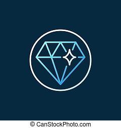 diamant, gefärbt, grobdarstellung, kreativ, vektor, logo, kreis, oder, ikone