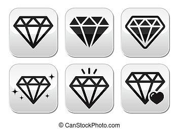 Diamantvektor-Ikonen eingestellt