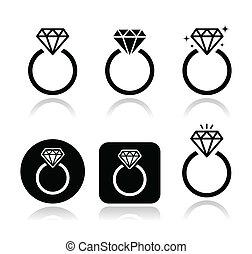 Diamond Verlobungsring-Evektor Icon