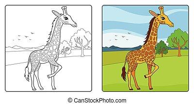 Die Abbildung der Giraffe Linie Kunst für das Farbbuch.