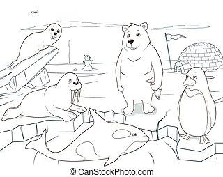 Die arktischen Tiere, die Bücher pädagogischen Spiel.