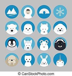 Die arktischen Tiere sind flache Ikonen.