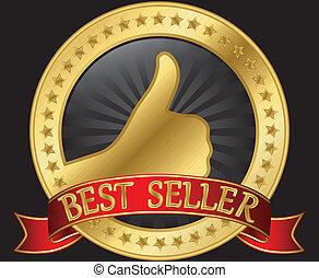 Die beste Verkäuferin mit Daumen hoch und hoch