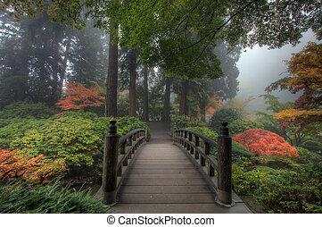 Die Brücke im japanischen Garten