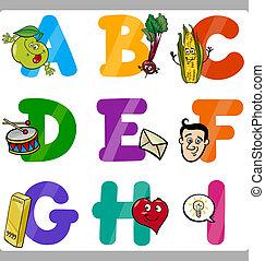 Die Buchstaben des Zeichentrickfilms für Kinder.