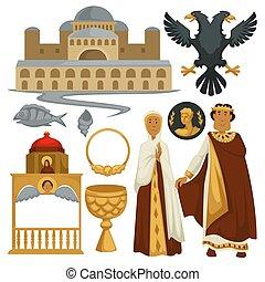 Die Byzantium-Geschichte symbolisiert die karitative Architektur und den religiösen Kaiser.