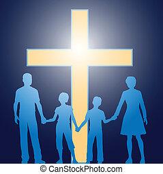 Die christliche Familie steht vor einem leuchtenden Kreuz