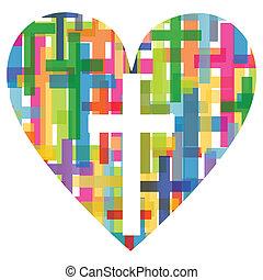 Die christliche Religion kreuzt das mosaische Herzkonzept abstrakter Hintergrundbildvektor für Poster.
