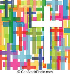 Die christliche Religion kreuzt Mosaikkonzept abstrakte Hintergrund vektorgrafik für Poster.