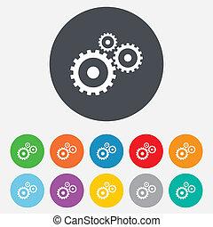 Die Cog-Einstellungen unterschreiben Icon. Cogwheel Getriebesymbol.