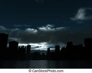 Die dunkle Stadt hat Mondlicht und Wasseroberfläche