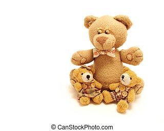 Die Familie der Teddybären sitzt im weißen Hintergrund