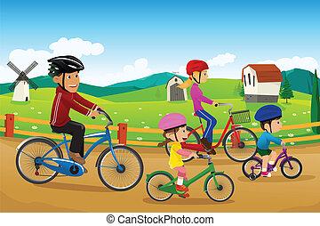 Die Familie fährt zusammen Rad