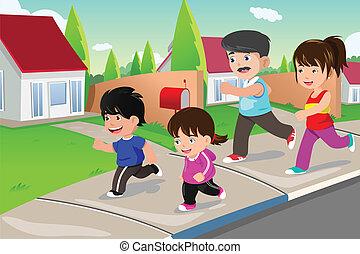 Die Familie läuft draußen in einer Vorstadt.