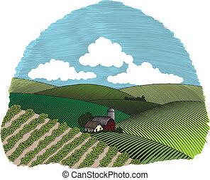 Die Farbe der ländlichen Farm-Szene