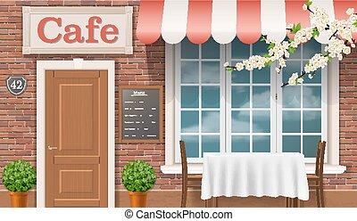Die Fassade des traditionellen Cafés.