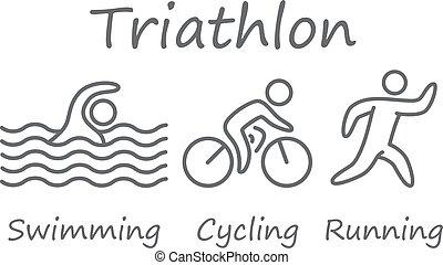 Die Figuren des Triathlonsportlers. Schwimmen, Radfahren und Laufen Symbole.
