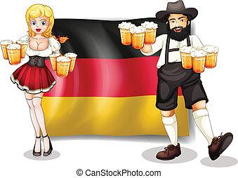 Die Flagge Deutschlands mit einem Mann und einer Frau