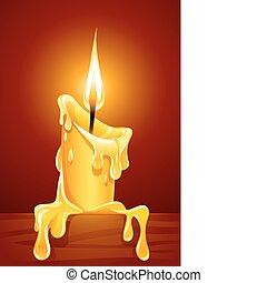 Die Flamme der brennenden Kerze mit tropfendem Wachs