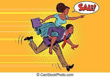 Die Frau, die als Mann fährt, läuft im Verkauf