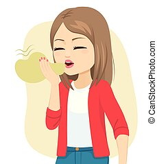 Die Frau, die Hälitose hat, hat Mundgeruch