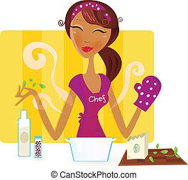 Die Frau kocht in der Küche