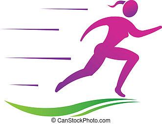 Die Frau läuft schnell. Sport-Fitness