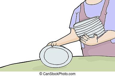 Die Frau legt Teller.