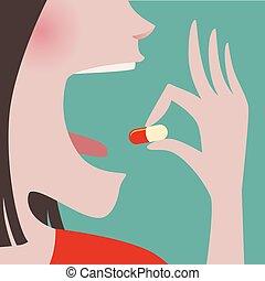 Die Frau nimmt eine Tablette in ihren Mund.