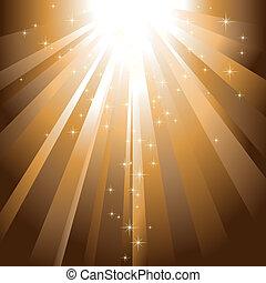 Die funkelnden Sterne sinken auf goldenem Licht
