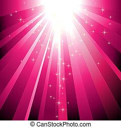 Die funkelnden Sterne sinken auf Magenta-Licht